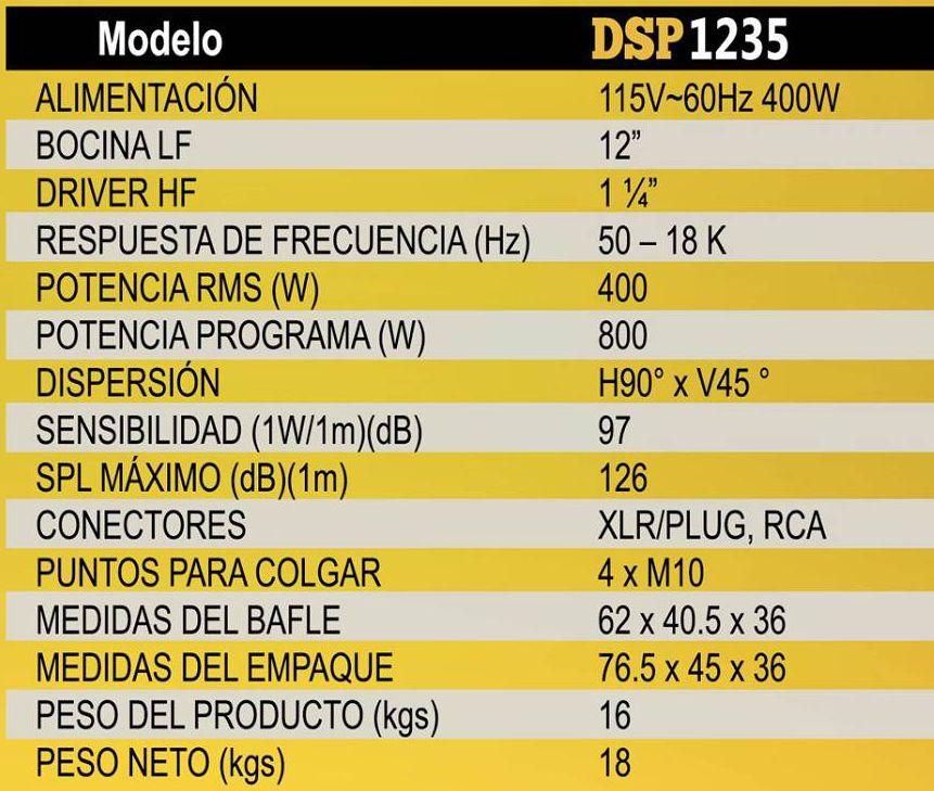 Especificaciones bafles MELO DSP1235