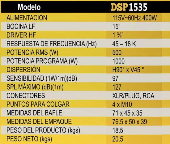 Especificaciones bafle MELO DSP1535