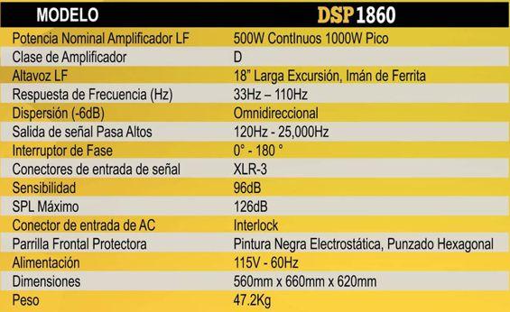 Especificaciones Subwoofer MELO DSP1860